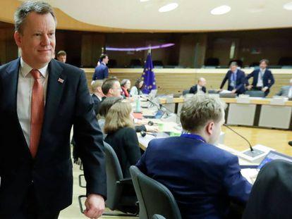 El negociador británico del Brexit, David Frost, este lunes en Bruselas.