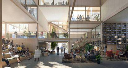 Una recreación realizada por EFFEKT Architects, en colaboración con Ikea, de su idea de cómo podría ser una comunidad de vecinos en un futuro no muy lejano
