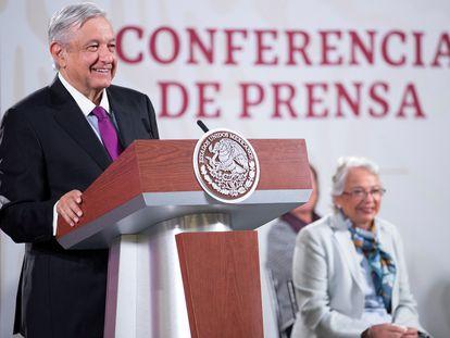 El presidente Andrés Manuel López Obrador, en la conferencia diaria del Gobierno, este miércoles.