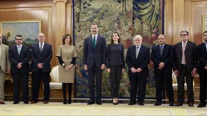 Los Reyes reciben a los representantes de la Comisión Islámica de España en 2017.