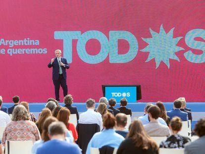 El presidente de Argentina, Alberto Fernández, durante un mitin por las elecciones legislativas, el pasado 31 de agosto, en Buenos Aires.
