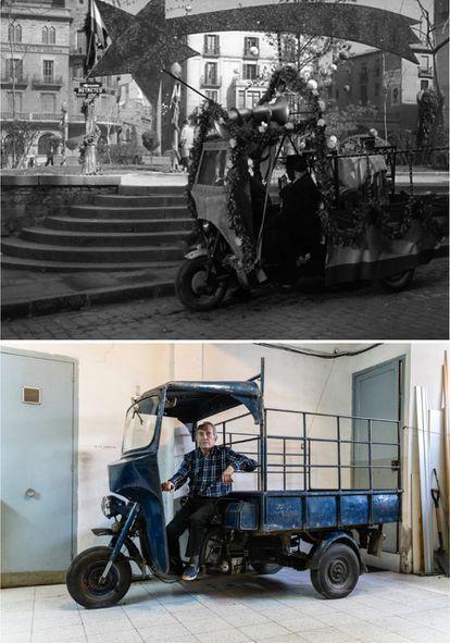 Arriba, el motocarro de 'Plácido', en el arranque de la película en la plaza Sant Domènec de Manresa. Debajo, el motocarro y su propietario, Enric Martí, el pasado 8 de abril en el garaje de su casa.