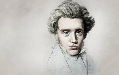 Boceto de Kierkegaard realizado por Niels Christian Kierkegaard hacia 1840.