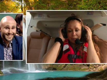 Kiko Rivera e Isabel Pantoja, en el helicóptero, justo antes de saltar en 'Supervivientes'.