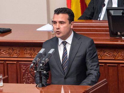 Zoran Zaev, primer ministro de Macedonia, el lunes en el Parlamento.