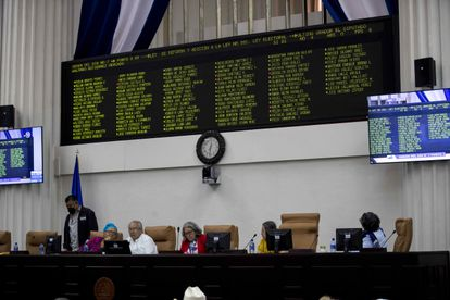 Los miembros de la Junta Directiva del parlamento de Nicaragua durante la aprobación de las reformas electorales, el martes, en Managua.