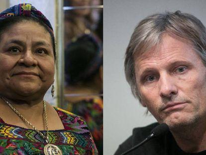 Rigoberta Menchú y Viggo Mortensen.