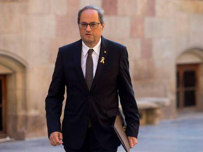 El presidente de la Generalitat, Quim Torra, este jueves en el Palau de la Generalitat.