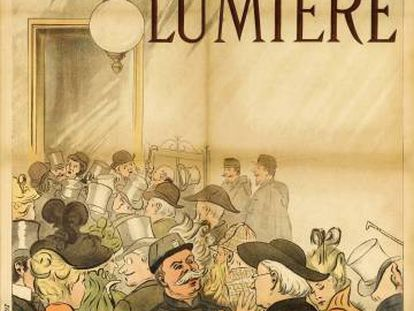 Imagen facilitada por Sotheby's del primer cartel, realizado en 1895, para promocionar el cine de los hermanos Lumière.
