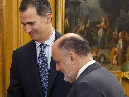 El Rey recibe al presidente del Tribunal Constitucional, este viernes.