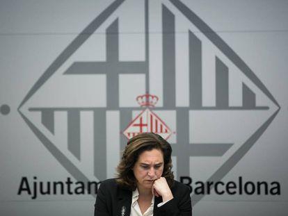 Ada Colau, durante un pleno telemático en el Ayuntamiento de Barcelona.