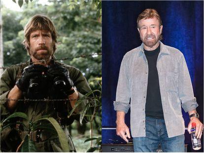 Chuck Norris en 'Desaparecido en combate' (1984), una de sus películas más célebres, y en la feria Comic Con de Filadelfia en 2017.