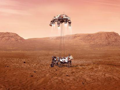 Ilustración de la grúa de aterrizaje posando el 'Perseverance' sobre Marte.