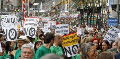 Manifestación en Madrid contra los recortes y la reforma educativa el pasado mes de mayo.