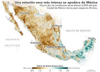Un mapa elaborado por la NASA muestra los niveles de sequía que está sufriendo México en mayo de 2021.