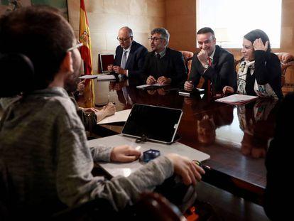 Reunión en el Congreso entre el PSOE y Unidos Podemos.