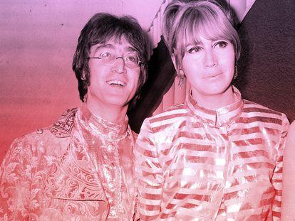 John Lennon y su esposa Cynthia, en el aeropuerto Heathrow de Londres en el verano de 1968.