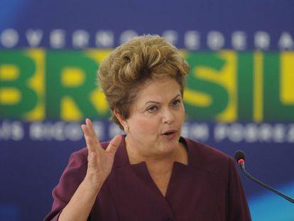 La presidenta Rousseff dando un discurso el pasado miércoles.