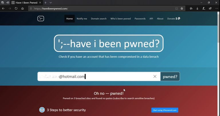 Captura de pantalla de la web Have I been pwned?