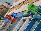 Oficinas de bancos y cajas de ahorros en una calle de Madrid.