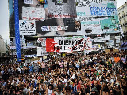 Imagen de la acampada de los indignados, en la Puerta del Sol, una semana después del 15M.