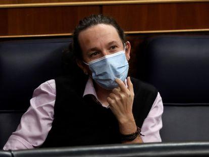 El vicepresidente segundo, Pablo Iglesias, en el Congreso.