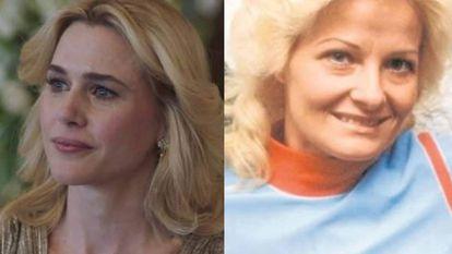 Anna Favella, la actriz que interpreta a Marcela Basteri en la serie de Luis Miguel (izquierda). La madre del cantante en la vida real (derecha).
