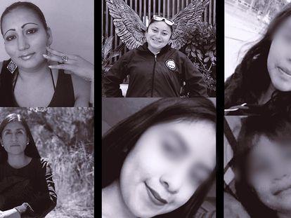 Mujeres víctimas de feminicidio el mes de marzo de 2021. En orden de aparición: Victoria Salazar, Karla, Maricela, Ivonne Gallegos, Wendy y Nicole.