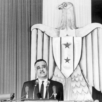 El presidente Gamal Abdel Nasser pronuncia un discurso en El Cairo en 1966.