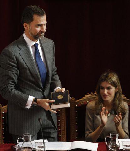 Los principes Felipe y Letizia, durante la presentación de la nueva Ortografía.