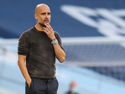 Guardiola, este domingo durante el Manchester City-Leicester.