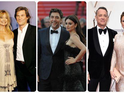 Goldie Hawn y Kurt Russel; Javier Bardem y Penélope Cruz y Tom Hanks y Rita Wilson.