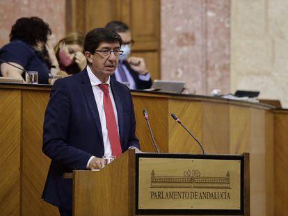 El vicepresidente de la Junta de Andalucía, Juan Marín, en el Pleno del parlamento andaluz.