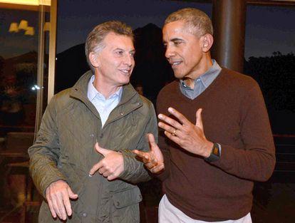 Los presidentes de Argentina, Mauricio Macri (izq) y de Estados Unidos, Barack Obama, en Bariloche.