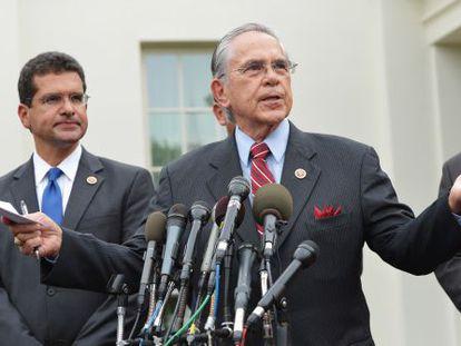 El presidente del 'caucus' de legisladores hispanos tras su entrevista con el presidente de EE UU, Barack Obama.