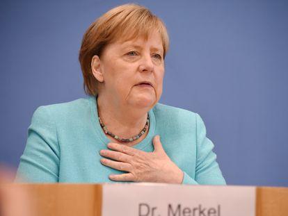 La canciller Angela Merkel en su rueda de prensa anual de verano, en Berlín, este jueves.