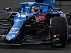 Alpine's Spanish driver Fernando Alonso drives during the first practice session of the Portuguese Formula One Grand Prix at the Algarve International Circuit in Portimao on April 30, 2021. (Photo by GABRIEL BOUYS / AFP)