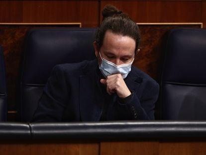 Pablo Iglesias, líder de Podemos, en el Congreso, esta semana.