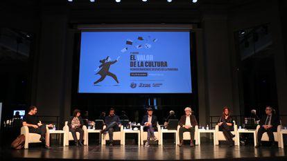 Los parcicipantes del foro 'El valor de la cultura. Reinventándo(nos) después de la pandemia', el miércoles en el Círculo de Bellas Artes.