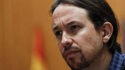 El secretario general de Podemos, Pablo Iglesias, durante una entrevista
