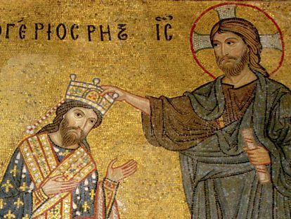 'Roger II coronado por Cristo', mosaico bizantino en la Iglesia de La Martorana, en Palermo.