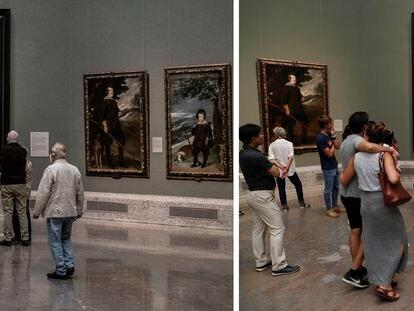 Visitantes ante 'Las meninas' el pasado 14 de octubre y, a la derecha, en junio del año pasado.
