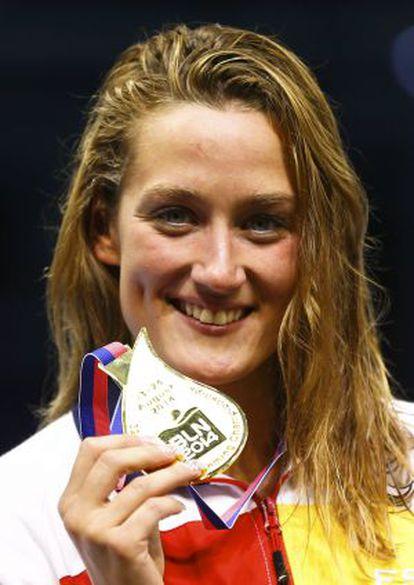 Belmonte, con la medalla de oro conquistada en los 1.500 metros.