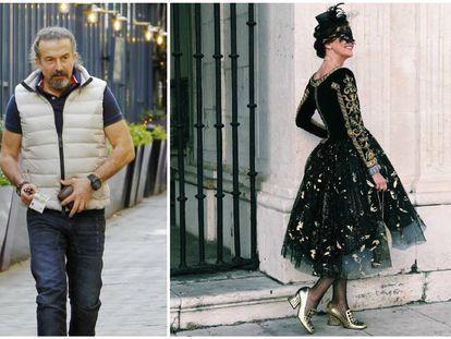 Nuria March antes de entrar en la fiesta de máscaras que José María Cano (en la imagen de la izquierda) ofreció en su palacete lisboeta.