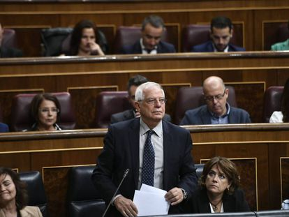 El ministro de Exteriores, Josep Borrell, el miércoles en el Congreso.