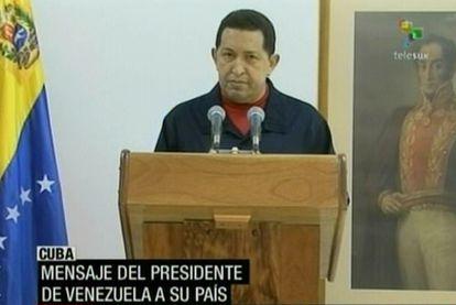 Un momento del discurso de Hugo Chávez.
