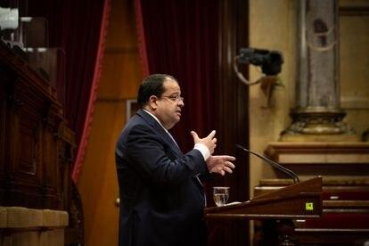 El conseller de Interior de la Generalitat, Joan Ignasi Elena, este miércoles en el Parlament.
