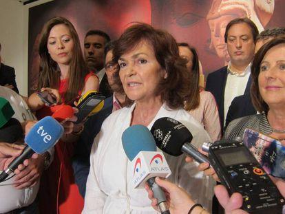 Carmen Calvo, este domingo en Jaén en declaraciones a los medios.
