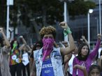 "Feminist activists take part in a choreographed performance at the Venezuela square against gender violence and patriarchy in Caracas on December 6, 2019. Tens of women, performed ""The rapist is you"", the song of a feminist performace which emerged amid the social crisis in Chile and became viral around the world. (Photo by Ramses Mattey/NurPhoto)"
