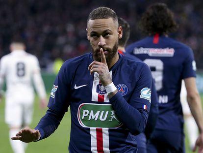 Neymar, después de marcar contra el Olympique de Lyón en la Copa.